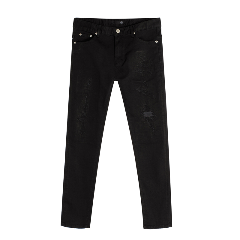 86RJ-1646 embroidery black destroyed jeans