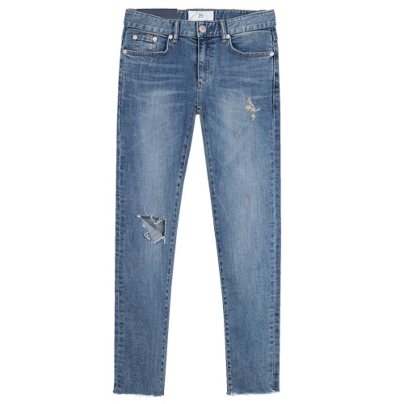 86RJ-1712 triangle destroyed jeans